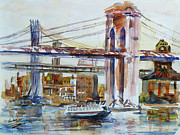 Brooklyn Bridge Painting Posters - Downtown Bridge Poster by Xueling Zou