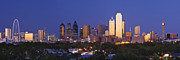 Blue Trees Prints - Downtown Dallas Skyline at Dusk Print by Jeremy Woodhouse