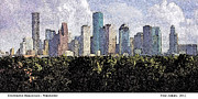 Sports Art Mixed Media Posters - Downtown Houston Poster by Fred Jinkins