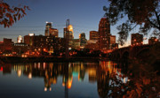 Minneapolis Posters - Downtown Minneapolis at Night Poster by Angie Schutt