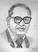 Freedom Fighter Drawings - Dr. B.R. Ambedkar by Archit Singh