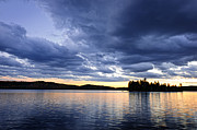 Horizon Metal Prints - Dramatic sunset at lake Metal Print by Elena Elisseeva