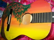 Orange Sculpture Prints - Dreaming Tree Guitar Print by Laurette Escobar