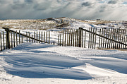 Nauset Beach Metal Prints - Drifting snow along the beach fences at Nauset Beach in Orleans  Metal Print by Matt Suess