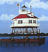 Landscape Art Paintings - Drum Point Lighthouse by Frederic Kohli