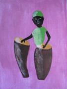 Abstract Drum Paintings - Drummer boy by Wimpie Du Toit