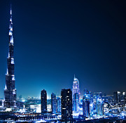 Dubai Photos - Dubai downtown at night by Anna Omelchenko