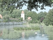 City Photography Drawings - Duck Pond Dinkelsbuhl Germany by Joseph Hendrix