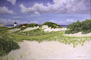 Cape Cod Lighthouse Paintings - Dunes and Race Point Light by Richard Ramsey