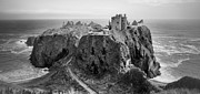 Rocky Outcrops Prints - Dunnottar Castle Monochrome Print by Jason Politte