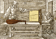 Durers Perspective Drawing Of A Lute Print by Science Source