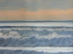 Sunset Seascape Pastels Posters - Dusk at High Tide Poster by Harvey Rogosin