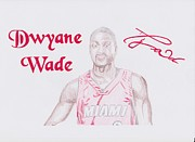 Miami Heat Drawings Prints - Dwyane Wade Print by Toni Jaso
