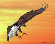 Wildlife Sunset Posters - Eagle At Sunset Poster by Larry Linton
