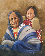 Indian Woman With Child Framed Prints - Eagle Feather and Child Framed Print by Raymond Schuster