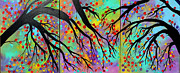 Trees Paintings - Early Autumn by Suzeee Creates