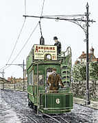 Tram Photo Posters - Early Electric Tram Poster by Sheila Terry