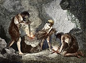 Cavemen Art - Early Humans Making Fire by Sheila Terry