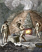 European Artwork Posters - Early Humans Smelting Iron Poster by Sheila Terry