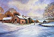 Rural Mixed Media Posters - Early Morning Snow Poster by Andrew Read