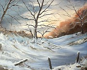 Snowy Trees Paintings - Early snow in the Foothills by James Potter