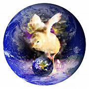 Chicken Mixed Media Posters - Earth Chick Poster by Gravityx Designs