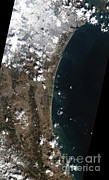 Flooding Prints - Earthquake And Tsunami Near Sendai Print by National Aeronautics and Space Administration