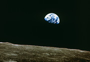 Rising From Earth Posters - Earthrise Over Moon, Apollo 8 Poster by Nasa