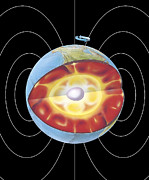 Magnetic Pole Posters - Earths Magnetic Field Poster by Gary Hincks