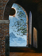 Brick Building Painting Framed Prints - Eclipse Framed Print by Lynette Cook
