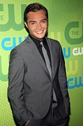 Gray Suit Framed Prints - Ed Westwick At Arrivals For The Cw Framed Print by Everett