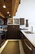 Condominium Prints - Efficiency Apartment Kitchen Print by Ben Sandall