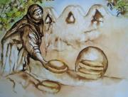 Labor Drawings - Egyptian Bread Making by Myra Evans
