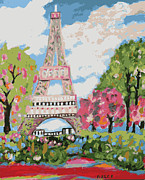 Paris Digital Art Posters - Eiffel Tower Dream Poster by Karen Fields