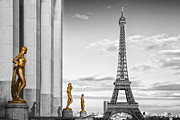 Yellow Line Digital Art Framed Prints - Eiffel Tower PARIS Trocadero Framed Print by Melanie Viola