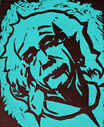 Linocut Framed Prints - Einstein 2 Framed Print by William Cauthern