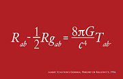 Mathematics Posters - Einstein Theory of Relativity Poster by Michael Tompsett