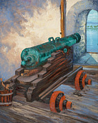 Puerto Rico Paintings - El Morro Cannon  by M J Weber