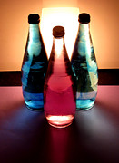 Liquid Pastels Acrylic Prints - Electric Light Through Bottles Acrylic Print by Caroline Peacock