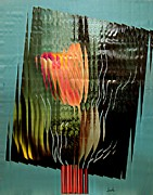 Vase Mixed Media Posters - Electric Tulip 2 Poster by Sarah Loft