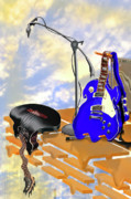 Electric Guitar Digital Art - Electrical Meltdown II by Mike McGlothlen