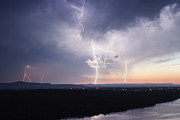 Thunderstorm Framed Prints - Electrical Storm at Dusk Framed Print by Jeremy Woodhouse