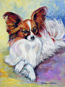 Papillon Dog Paintings - Elegance - Papillon Dog by Lyn Cook