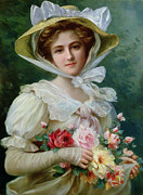 Woman In Hat Framed Prints - Elegant lady with a bouquet of roses Framed Print by Emile Vernon