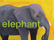 Animal Mixed Media Metal Prints - Elephant Metal Print by Laurie Breen