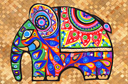 Mixed Tapestries - Textiles Framed Prints - Elephant Framed Print by Samadhi Rajakarunanayake