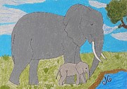 Grey Clouds Pastels Prints - Elephants Print by Jessica Cruz