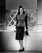 Pleated Skirt Framed Prints - Ella Raines, 1944 Framed Print by Everett