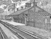 Train Station Drawings - Ellicott City Train Station by Calvert Koerber