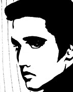 Elvis Portrait Paintings - Elvis in black and white by Jessie Art
